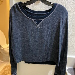 Blue Grey Athletic Yoga Sweater Top